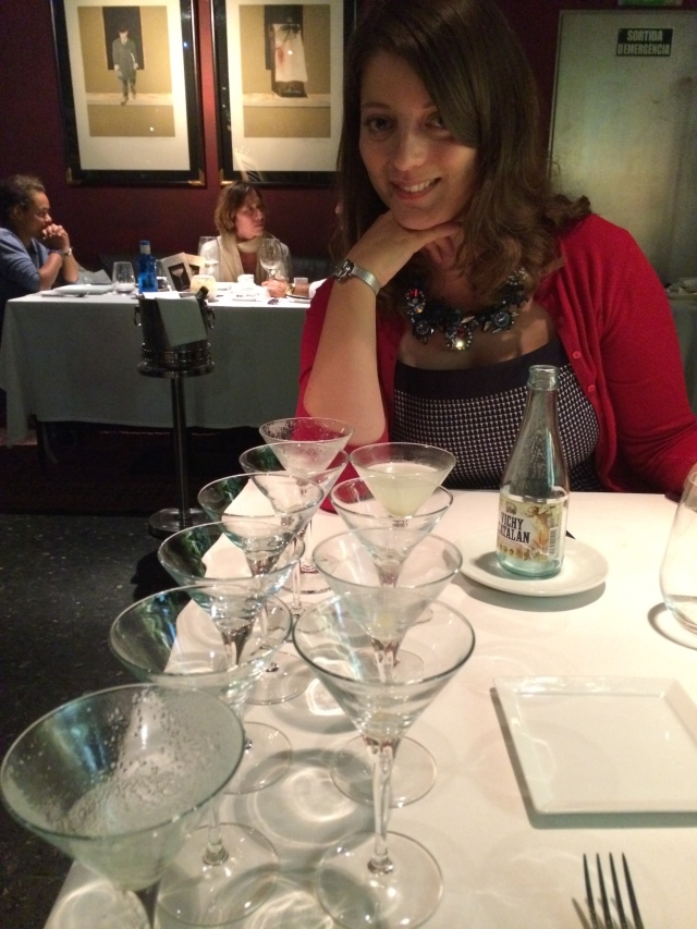 10 martinis later. And a very sad looking bottle of water.